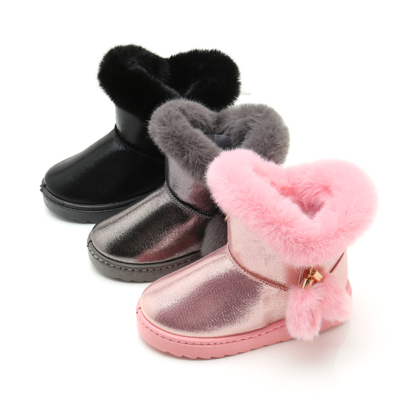 Children Girl Snow Boots Waterproof  Kids Cotton Boot Thicken Rubber Anti-Slip Sole Solid Color Cute Fur Ball SSJ041