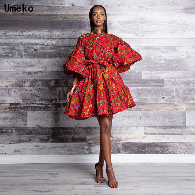 Umeko Fashion Women Summer O-Neck Tribal Nation Style Sexy Bubble Dress Butterfly Sleeve Floral Print African Dress For Women
