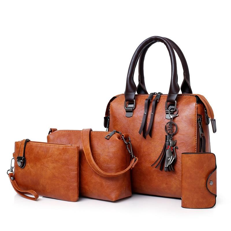 Ladies Handbag Tote-Bag Bolsa Messenger-Bag Female-Set Shoulder 4pcs/Set High-Quality