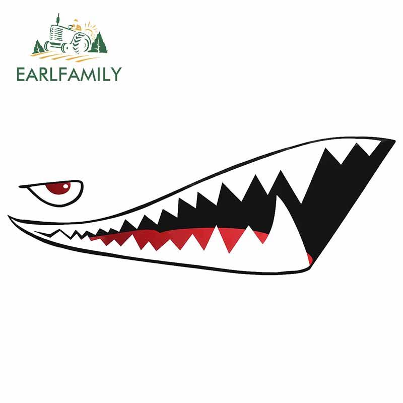 Earlfamily 13 см для акулы рот зубы мультфильм наклейка водонепроницаемый