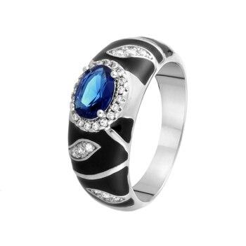 Кольцо из серебра с ситаллом и фианитами и эмалью R00773