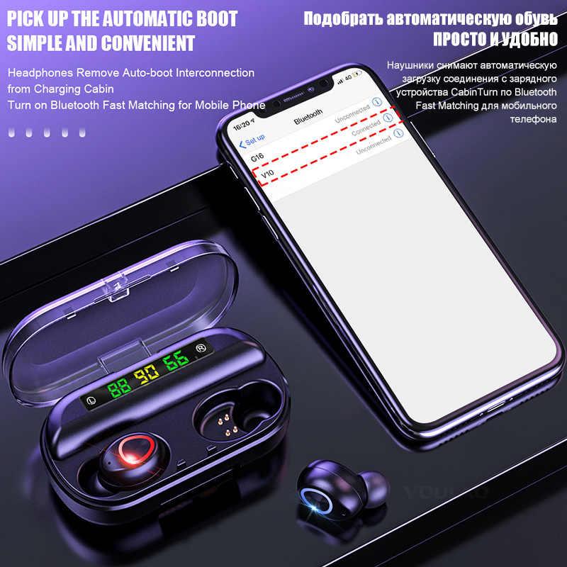 8D беспроводные наушники Bluetooth V5.0 Спортивные Беспроводные наушники светодиодный дисплей сенсорное управление стерео наушники с микрофоном гарнитура