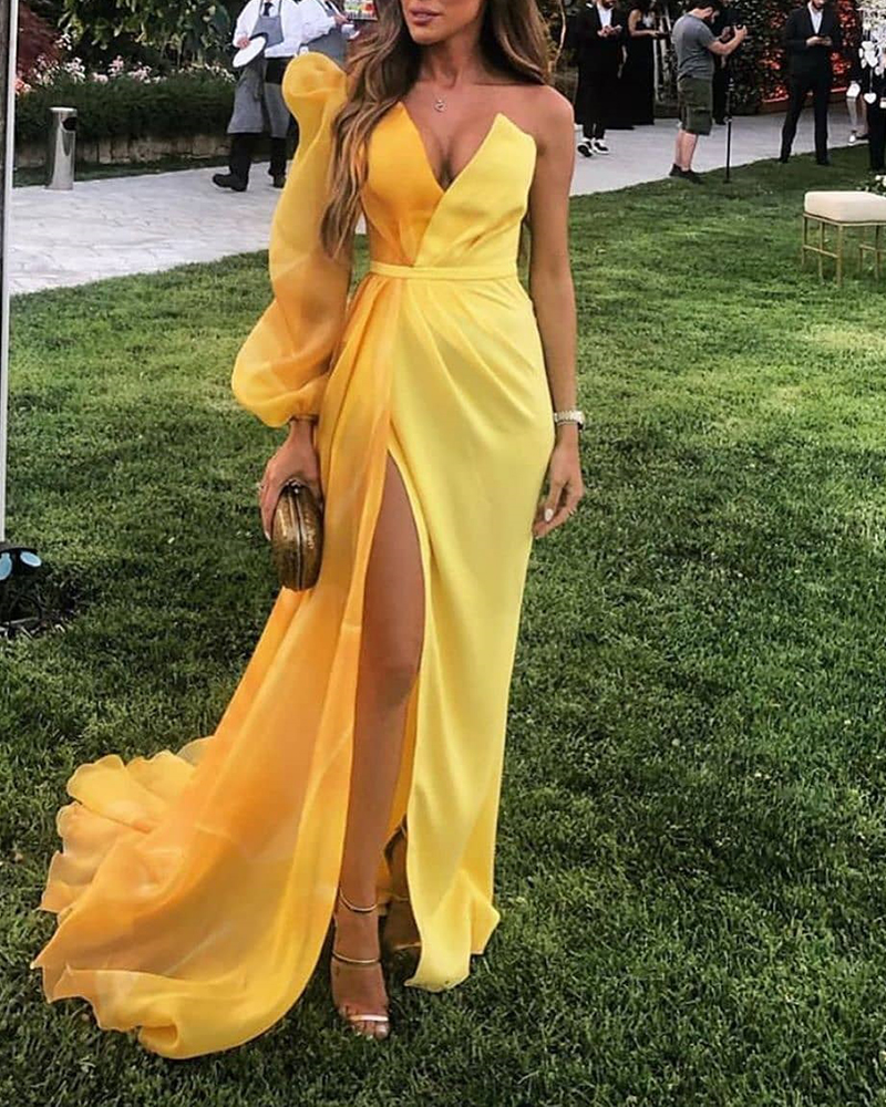2019 Women Elegant One Shoulder Maxi Dress Yellow Evening Party V Neck Dress Colorblock Puff Sleeve Mesh Insert High Slit Dress