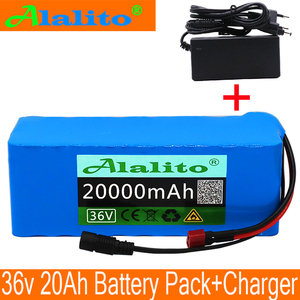 36V 20AH electric bicycle battery built-in 20A BMS lithium battery pack 36 volt 2A charging Ebike battery + charger(China)