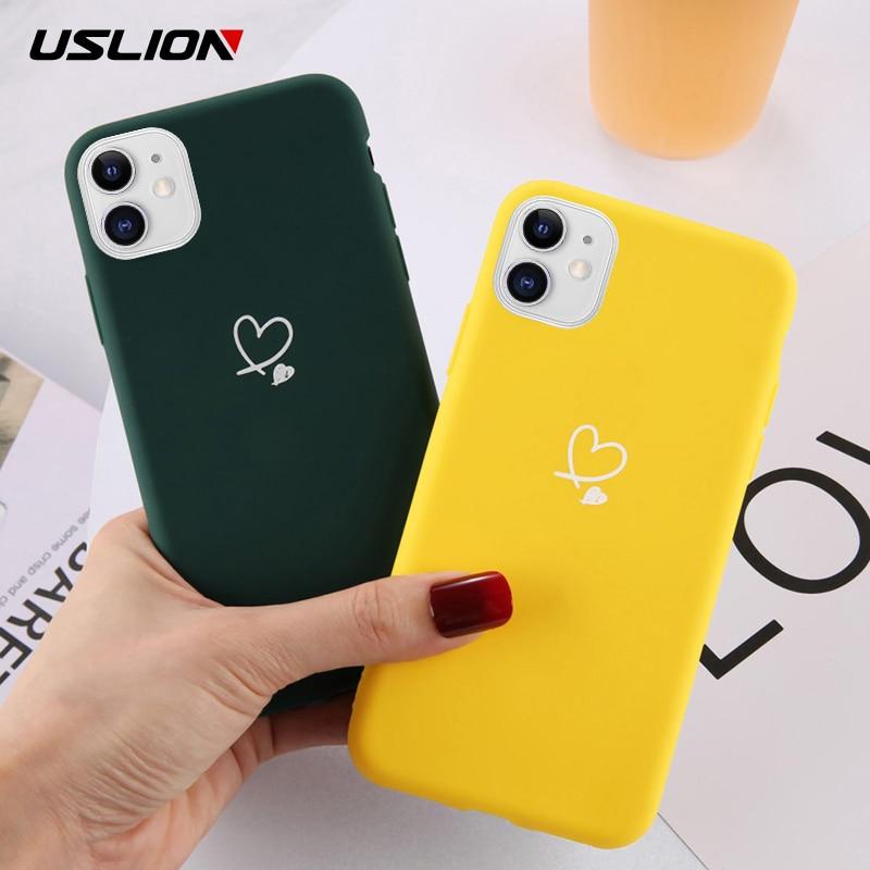 Funda de teléfono USLION para iPhone 11 Pro Max X XS XR Xs Max Color caramelo amor corazón suave funda de silicona para iPhone 6 S 7 8 Plus 5 s SE