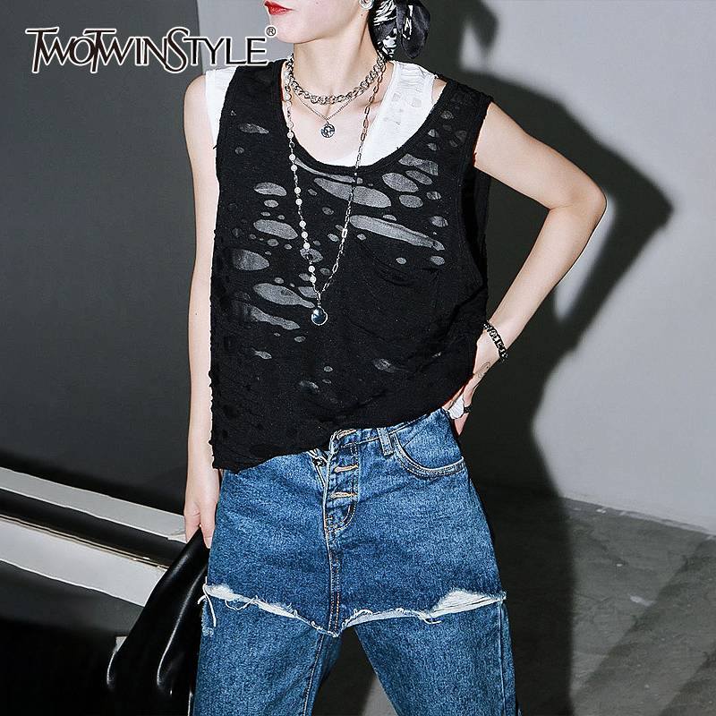 TWOTWINSTYLE Casual Loose Women Vest O Neck Sleeveless Ripped Hole Asymmetrical Tank Tops For Female Fashion Clothing 2020 Tide