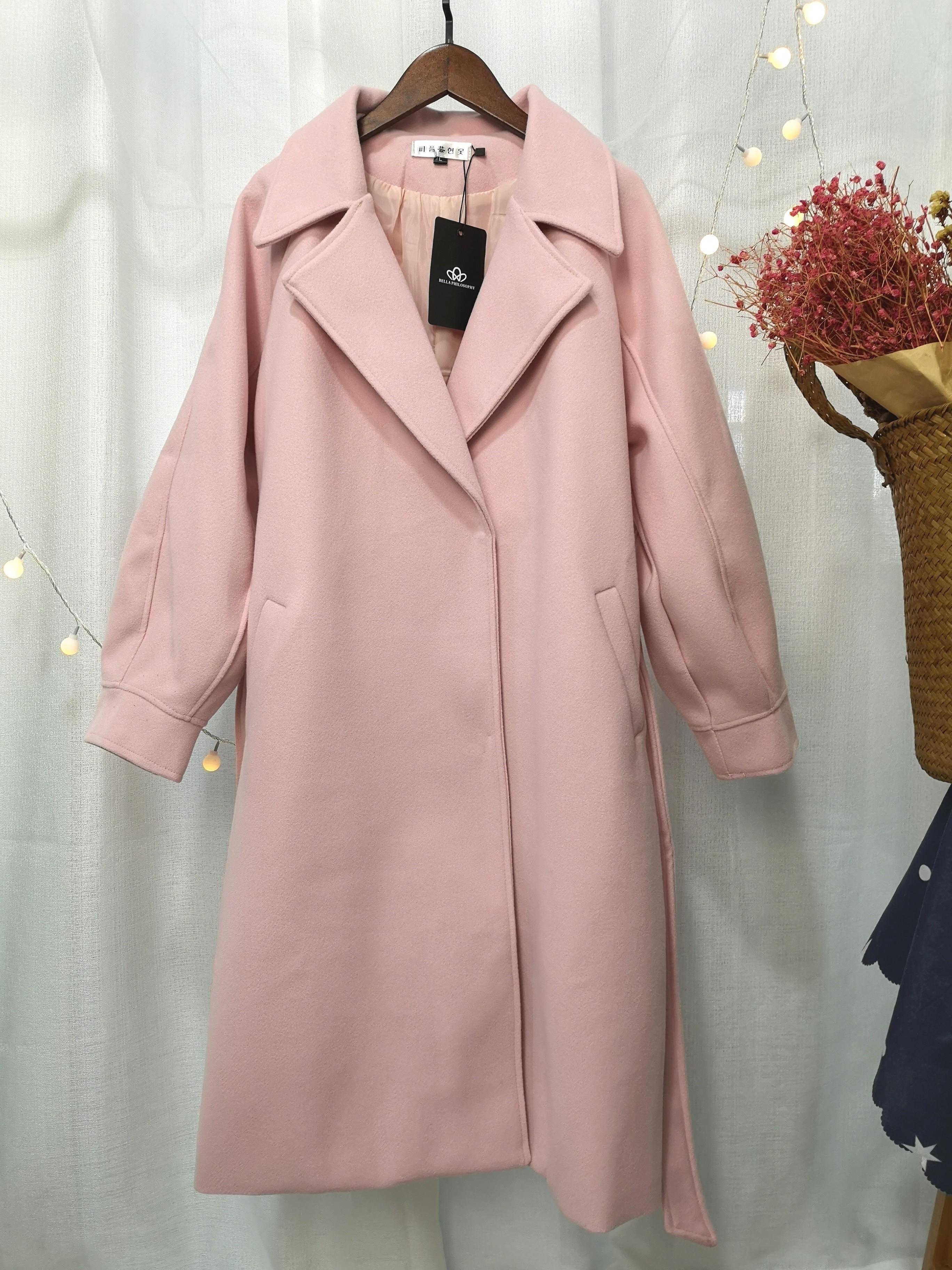 2019 Autumn Winter Woolen coats Women Lantern Sleeve Wool&blends Long Woolen Coat Casual Loose Wool Jacket Female Outwear 6