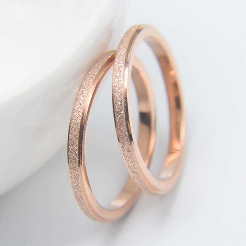 Rose Gold Color Frosted Finger Ring for Woman Man Wedding Jewelry 316L Stainless Steel Top Quality Never Fade 3