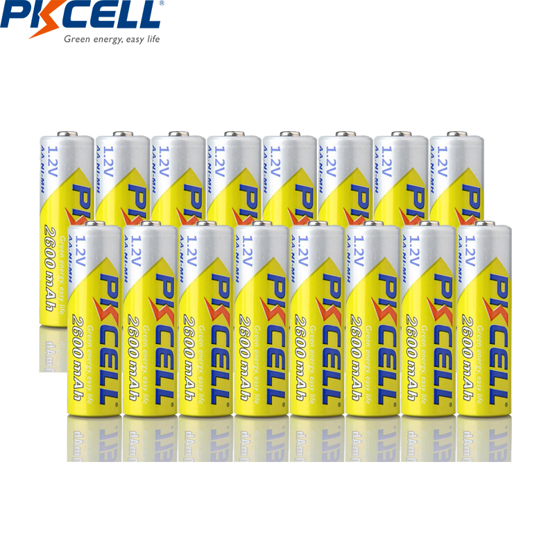 16PCS PKCELL AA 2600Mah <font><b>1.2V</b></font> 2A <font><b>Ni</b></font>-<font><b>Mh</b></font> Rechargeable Batteries AA Bateria Battery NIMH Baterias image