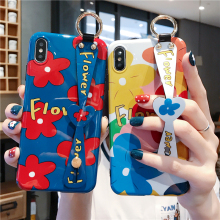 Floral Flower Case for iPhone 11 Pro Max XR XS X Cute Stylish Girly Wrist Strap Phone Cover 7 8 6 6S Plus