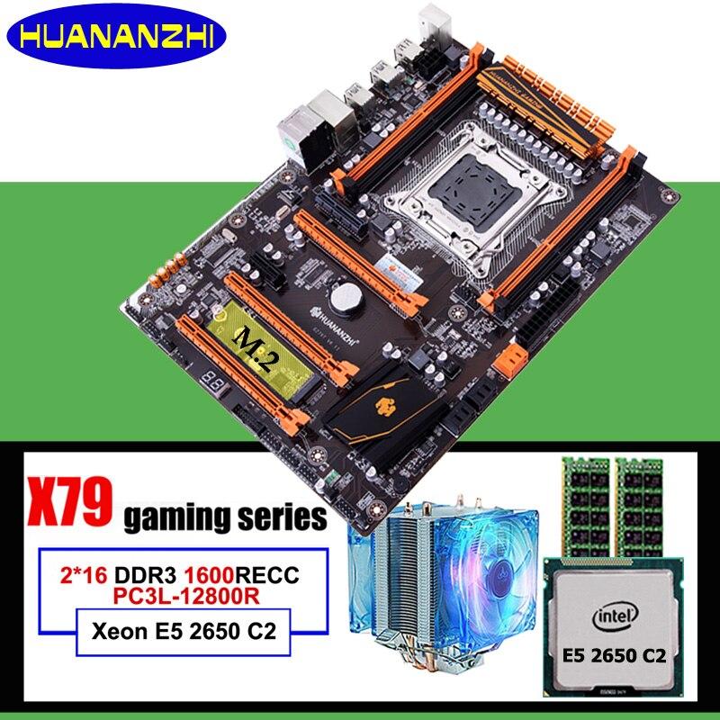 Marque chaude HUANANZHI deluxe X79 LGA2011 carte mère avec M.2 slot discount carte mère avec CPU Xeon E5 2650 C2 RAM 32G (2*16G)