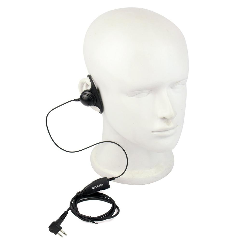 Retevis R-122 D Shape 2Pin Soft Ear Hook Earpiece Headset Microphone For Motorola GP68/GP88/GP300/2000/CT150/P040/Pro1150 HYT