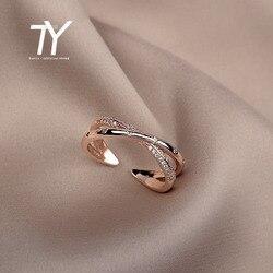 Bague de mariage en zircon Simple, bague de luxe en croix et design à la mode, bijou coréen sexy et ajustable pour femmes, or rose