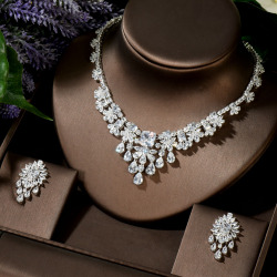 HIBRIDE Water Drop CZ White Necklace Earrings 2 Piece Wedding Jewelry Set For Women Bridal Party Accessories Bijoux N-83