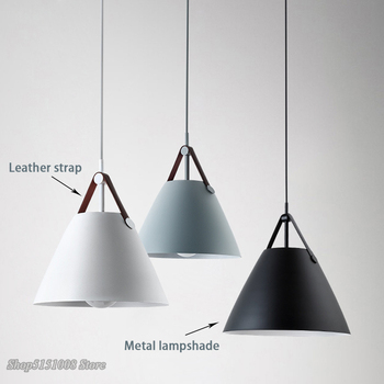 Minimalist Modern Iron Pendant Lights Leather Strap Hanging Lamp Metal Suspension Pendant Lamps For Living Room Dining Lamp E27