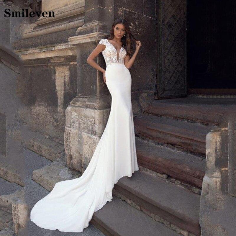 Smileven Lace Mermaid Wedding Dress Cap Sleeve Vestido De Noiva Soft Satin Bride Dresses Boho Wedding Gowns