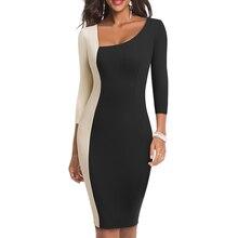 Женское облегающее платье с оборкой, с пэчворком рукавом для работы в офисе, обтягивающий наряд, повседневная деловая одежда, EB541