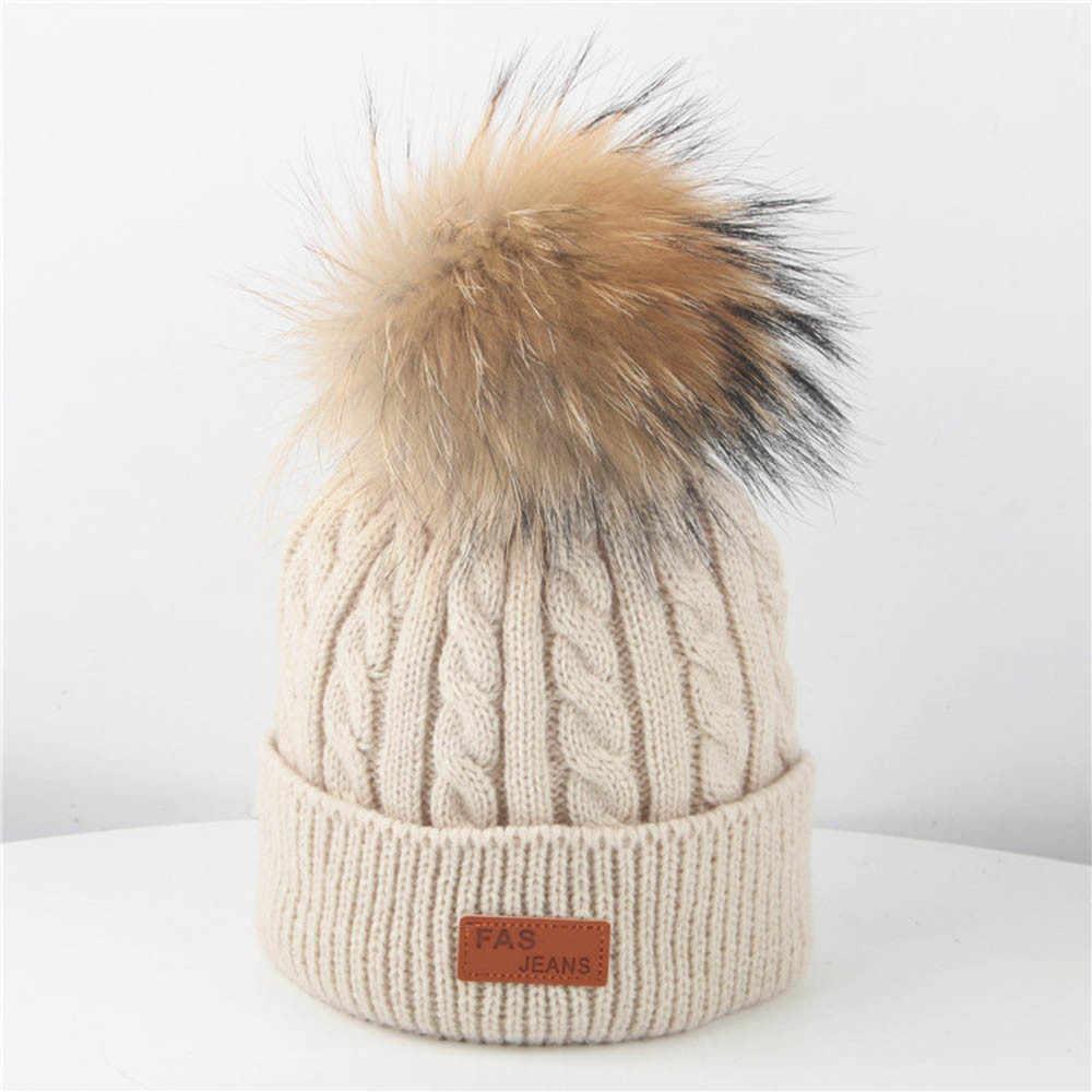 Sombrero de invierno para sombrero tejido para niños gorro de Bola de Pelo de algodón suave para niños niñas Pom sombrero de pompones niños otoño invierno Bebé sombrero 2019 nuevo