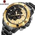 Прочные мужские часы со стальным ремешком reloj hombre, двойной кварцевый цифровой relogio masculino, роскошные высококачественные спортивные часы montre ...