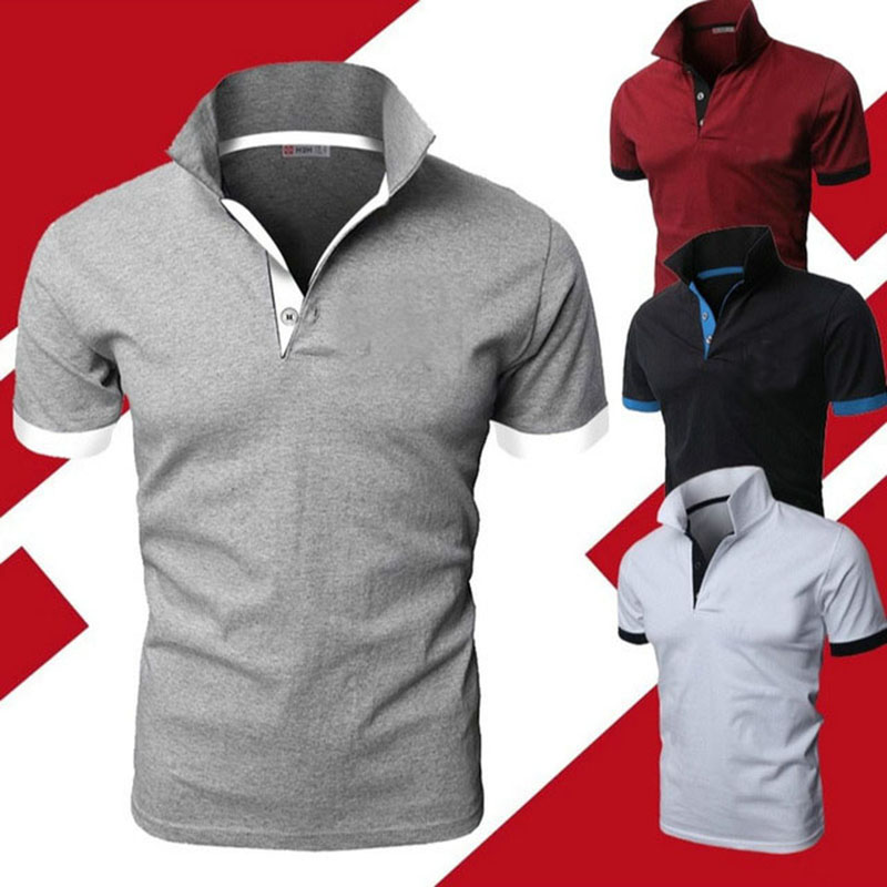Mens Polo Shirt 2019 New Summer Short Sleeve Turn-over Collar Slim Tops Casual Breathable Solid Color Business Shirt