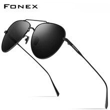 Fonex puro titânio óculos de sol homem aviação polarizado óculos de sol para homem 2019 nova condução ao ar livre aviador uv400 tons 8507
