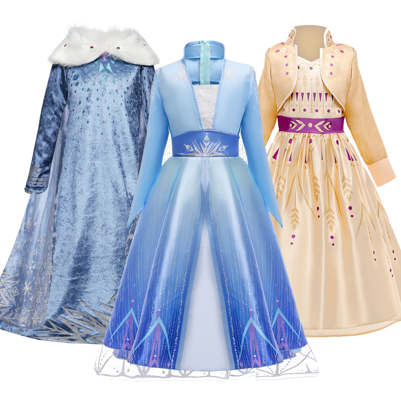 2020 Cosplay Snow Queen Elsa Dress Elza Costumes Girls Dress For Girls Anna Princess Party Kids Vestidos Fantasia Girls Clothing(China)