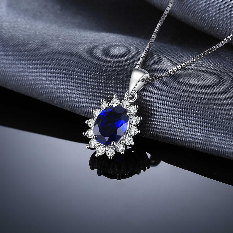JewelryPalace נוצר ספיר תליון שרשרת 925 כסף סטרלינג אבני חן הצהרת קולר שרשרת נשים ללא שרשרת