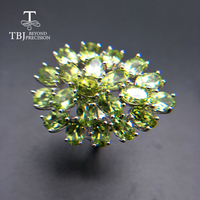 Tbj,Natural 12.6CT big Peridot gemstone Ring 925 sterling silver fine jewelry for women wife anniversary best gift