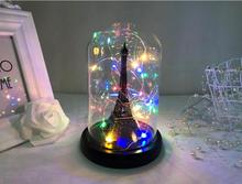 LED Battery Copper Light Eiffel Tower in Glass Dome Rustic Desk Lamp Birthday Holiday Girl Mother Gift Home Bedside Art Decor