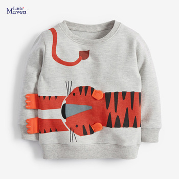 Little maven Boys Sweatshirts Animal Tiger Children Thin Sweater Autumn New 2020 Kids Hoodies Clothes