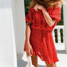Sexy Red Polka Dot Off Shoulder Women Tunic Beach Dress Swim Suit Cover Up Summer Fashion Mini Dress pareos palge sarongs Q591(China)