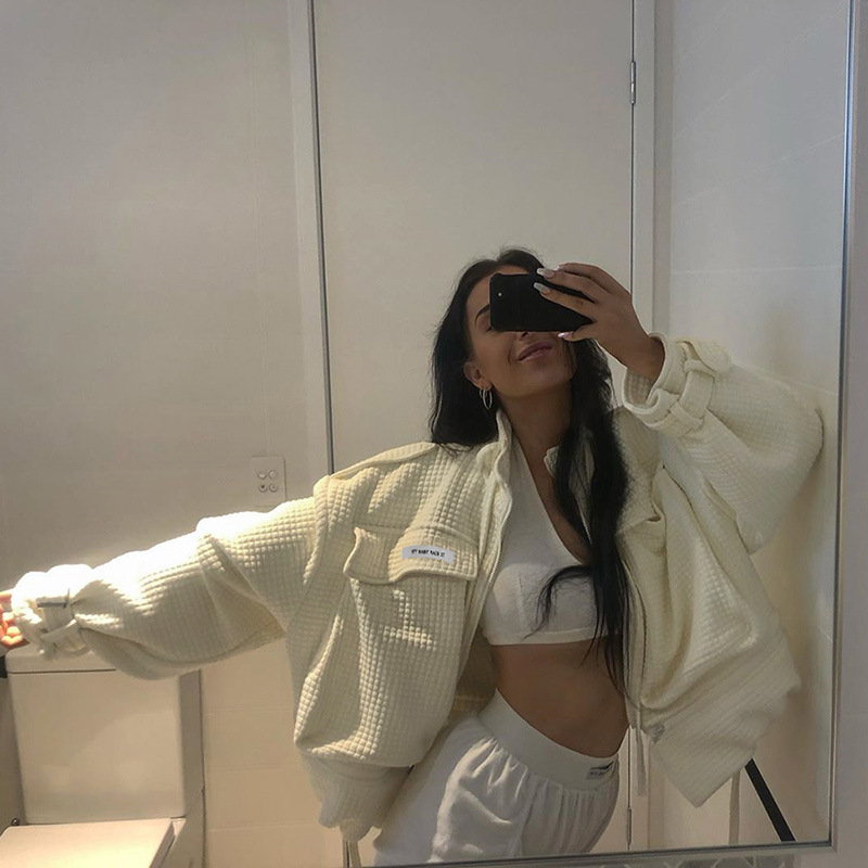 Brand High Quality Winter Thick Warm Women's Zipper Big Pocket Jacket Female Streetwear Hip Hop Drawstring Beige Cardigan Coat