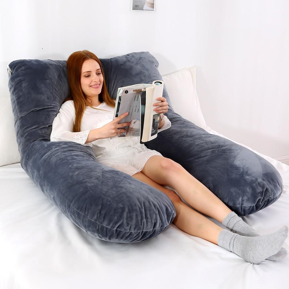 U образная подушка для поддержки сна для беременных женщин фланелевая наволочка для беременных подушка для тела беременность боковые шпалы постельные принадлежности|Подушки на кровать|   | АлиЭкспресс