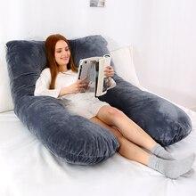W kształcie litery U poduszka do spania zapewniająca wsparcie dla kobiet w ciąży poszewka flanelowa ciążowe poduszki ciąży bocznych podkładów pościel