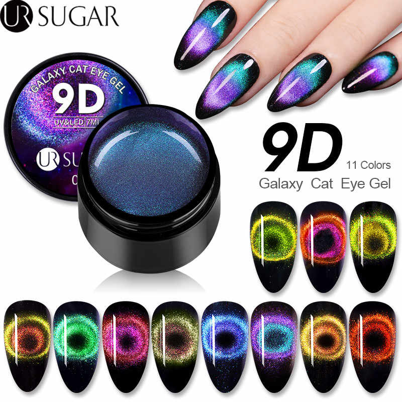 UR Gula 9D Galaxy Cat Eye Magnetic Gel Polish 7Ml Chameleon Rendam Off Enamel UV Gel Kuku Pernis pernis Cat Eye Gel