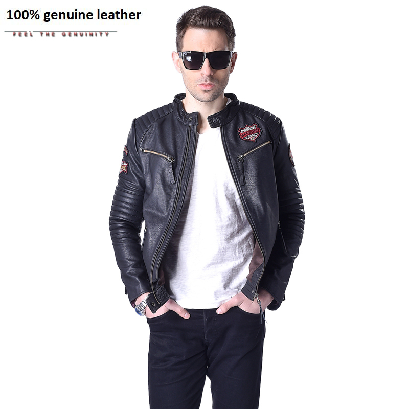Factory Men's Leather Jackets Indiana Skulls Pattern Embroidery Genuine Cowhide Short Slim Fit Male Street Motorcycle Coat ZH147
