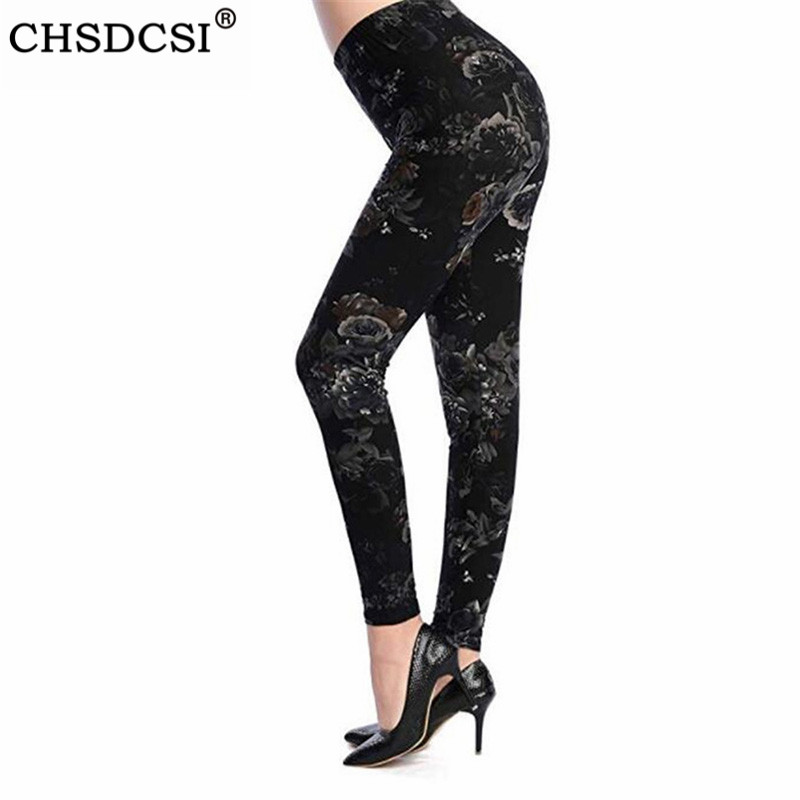 CHSDCSI Lady Fitness Leggings Stretch Hot High Waist Trousers Floral Printed Legging High Elastic Workout Leggins Push Up Pants