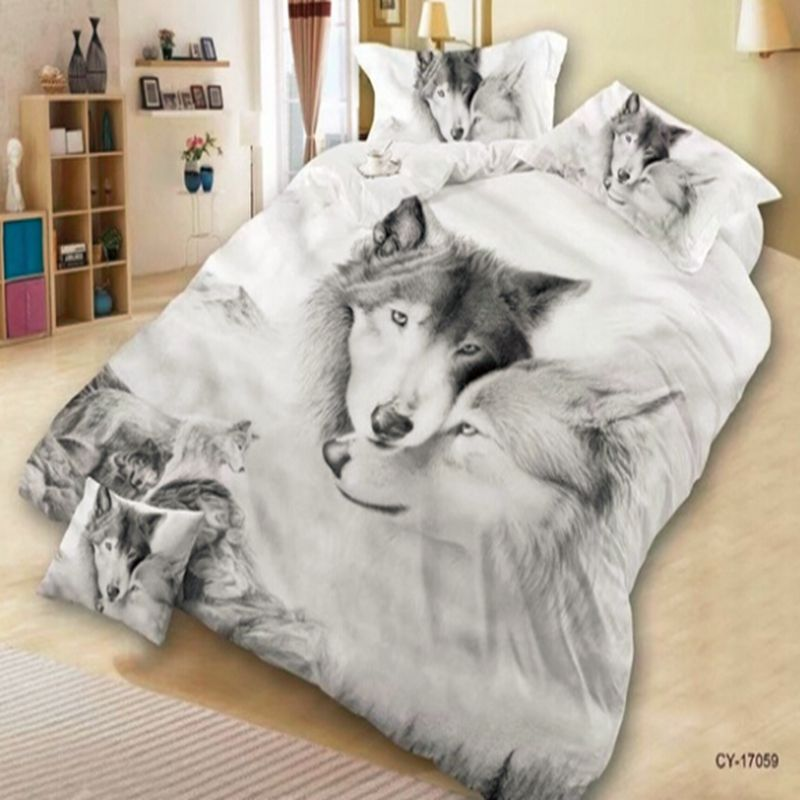 Hot Classic Polyester Bedding Set 3D Cool Wolf Oil Print Bed Clothes Comforter Cover Bed Sheet Set Pillowcase High Quality