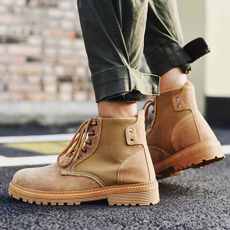 Ingiliz tarzı erkek ayakkabı dikiş ipliği Chelsea Çizmeler Erkekler Için rahat pamuklu ayakkabılar Brogue Chelsea Çizmeler Mens Ayakkabı yarım çizmeler