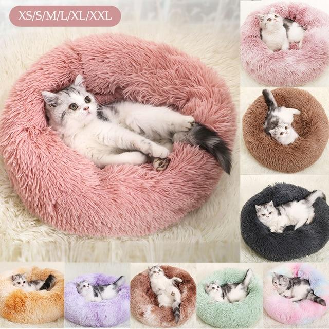 Round Plush Dog Bed House Dog Mat Winter Warm Sleeping Cats Nest Soft Long Plush Dog Basket Pet Cushion Portable Pets Supplies 1
