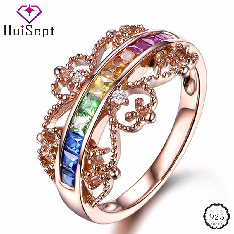 HuiSept Fashion 925 Silver Jewellery Ring for Female Colorful Topaz Gemstones Rings Wedding Engagement Party Ornaments Rose Gold