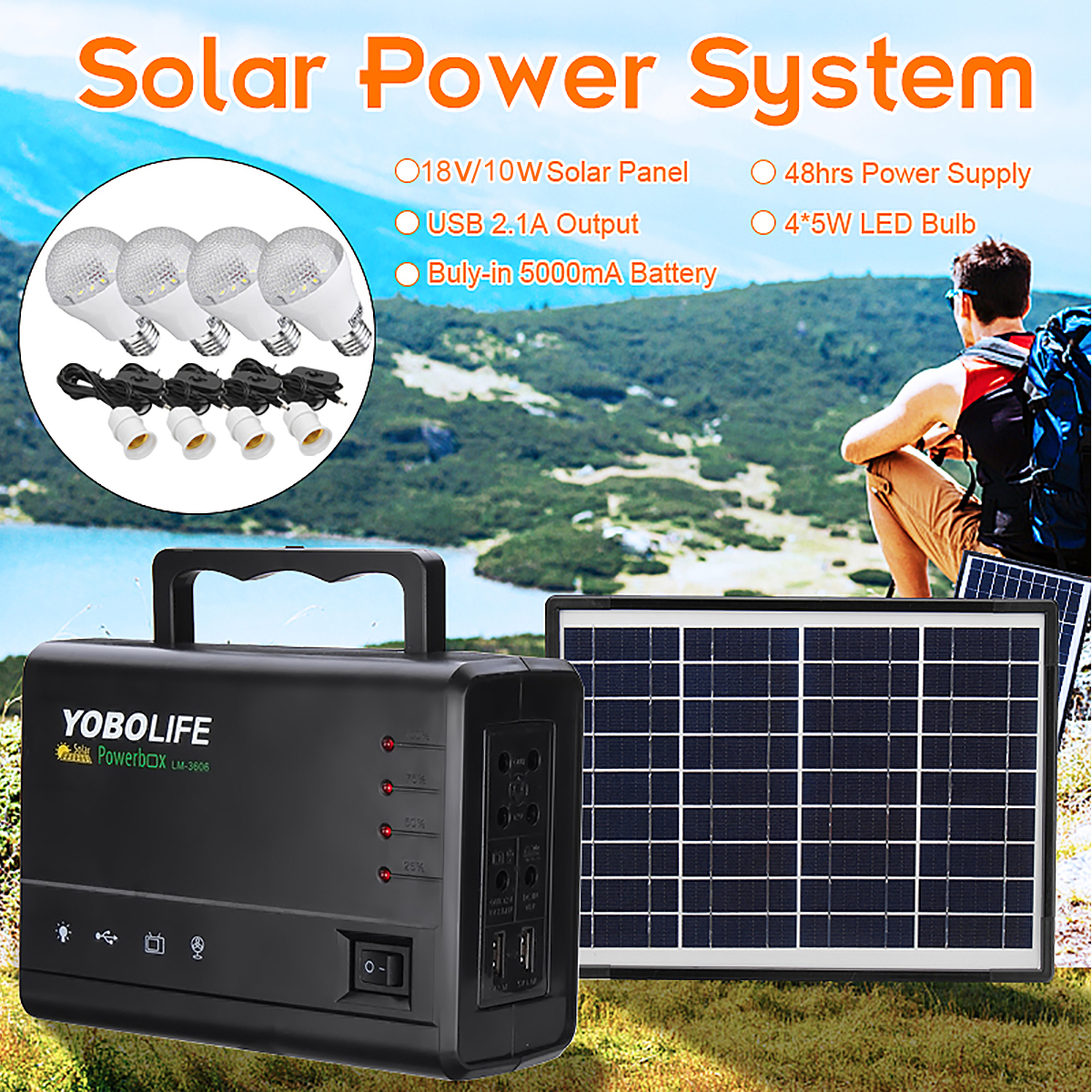 LED Light USB Charger 18V Solar Panel Power Storage Generator Home System Kit Rechargeable Sealed Lead acid Battery ABS+PC 10W