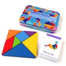 Colorful 3D Wooden Pattern Animal Jigsaw Puzzle Tangram Toy Kids Montessori Early Education Sorting Games Toys Children Gift