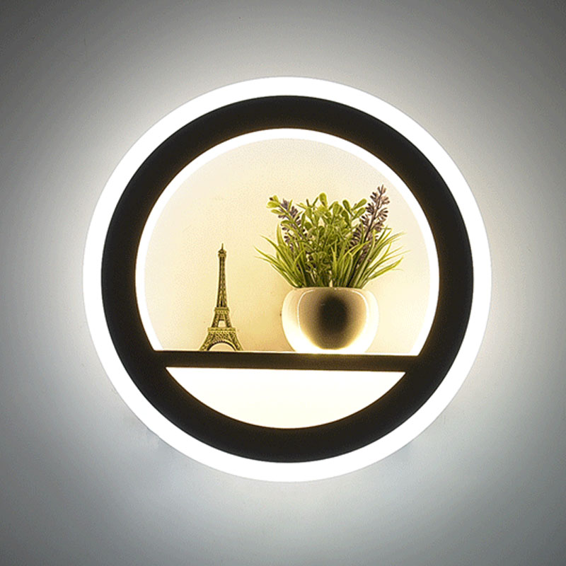 Hot Selling Led Wall Lamp Indoor Black And White Wall Lamp Simple Art Mural Indoor Home Decoration Modern Bedside Wall Lamp