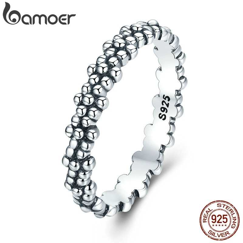 BAMOER Authentic 925 Sterling Silver Stackable Ring Daisies Flower Finger Rings for Women Sterling Silver Jewelry Gift PA7628