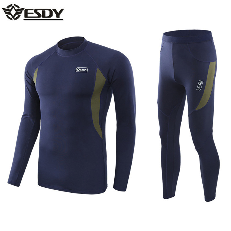 2019 New Winter Fleece Thermal Underwear Men Long Johns Compression Sweat Sets Outdoor Sports Suit Physical Clothing