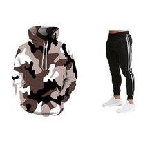 جديد الأزياء البلوز الذكور كامو هودي الورك الخريف الشتاء العسكرية هوديي 3D التمويه هوديس + Sweatpants الرياضية 2019
