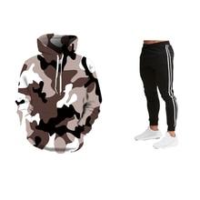 Nuovo di Modo Felpa Maschile Camo Hoody Hip Autunno Inverno Militare Con Cappuccio 3D Camouflage Felpe + Pantaloni Della Tuta Abbigliamento Sportivo 2019