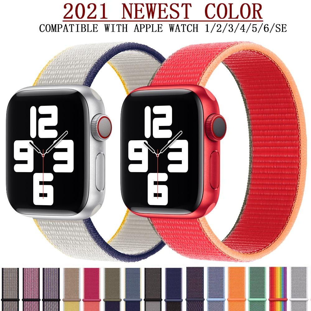 Ремешок нейлоновый для apple watch Band 44 мм 40 мм, спортивный браслет для iwatch band 42 мм 38 мм, apple watch SE 6 5 4 3, новинка 2021