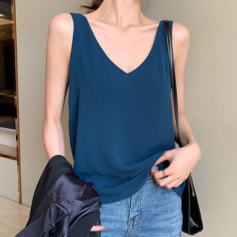 Womens Tops And Blouses Chiffon Women Blouses Sleeveless V-Neck White Women Shirts Plus Size Korean Fashion Clothing